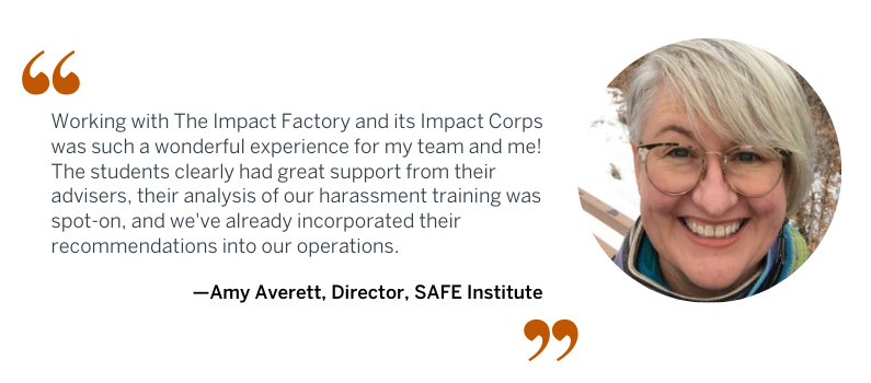 Quote from Amy Avnett of SAFE Institute about working with Impact Corps